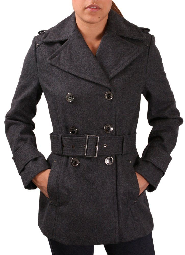 Amazon.com  Kenneth Cole New York Melton Women s Belted Peacoat Pea Coat  Wool  Clothing a4b0a08a4