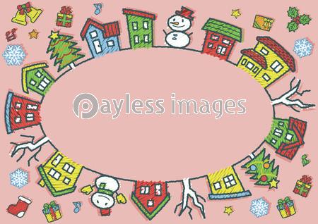 デフォルメした家と木の楕円サークル 手書風線画落書き風着色 ピンク