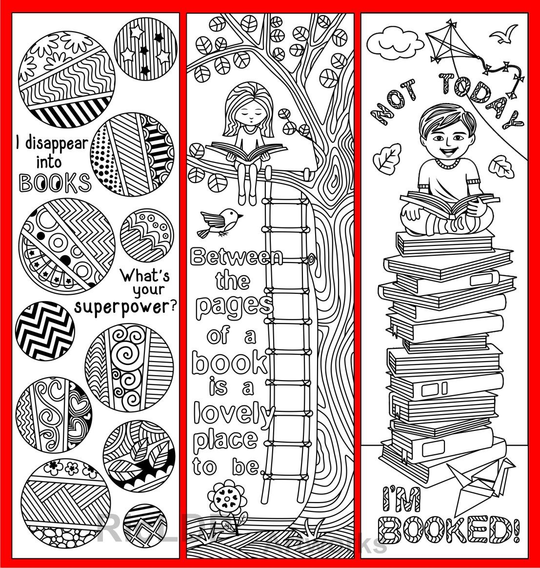 Set of 8 Coloring Bookmarks with