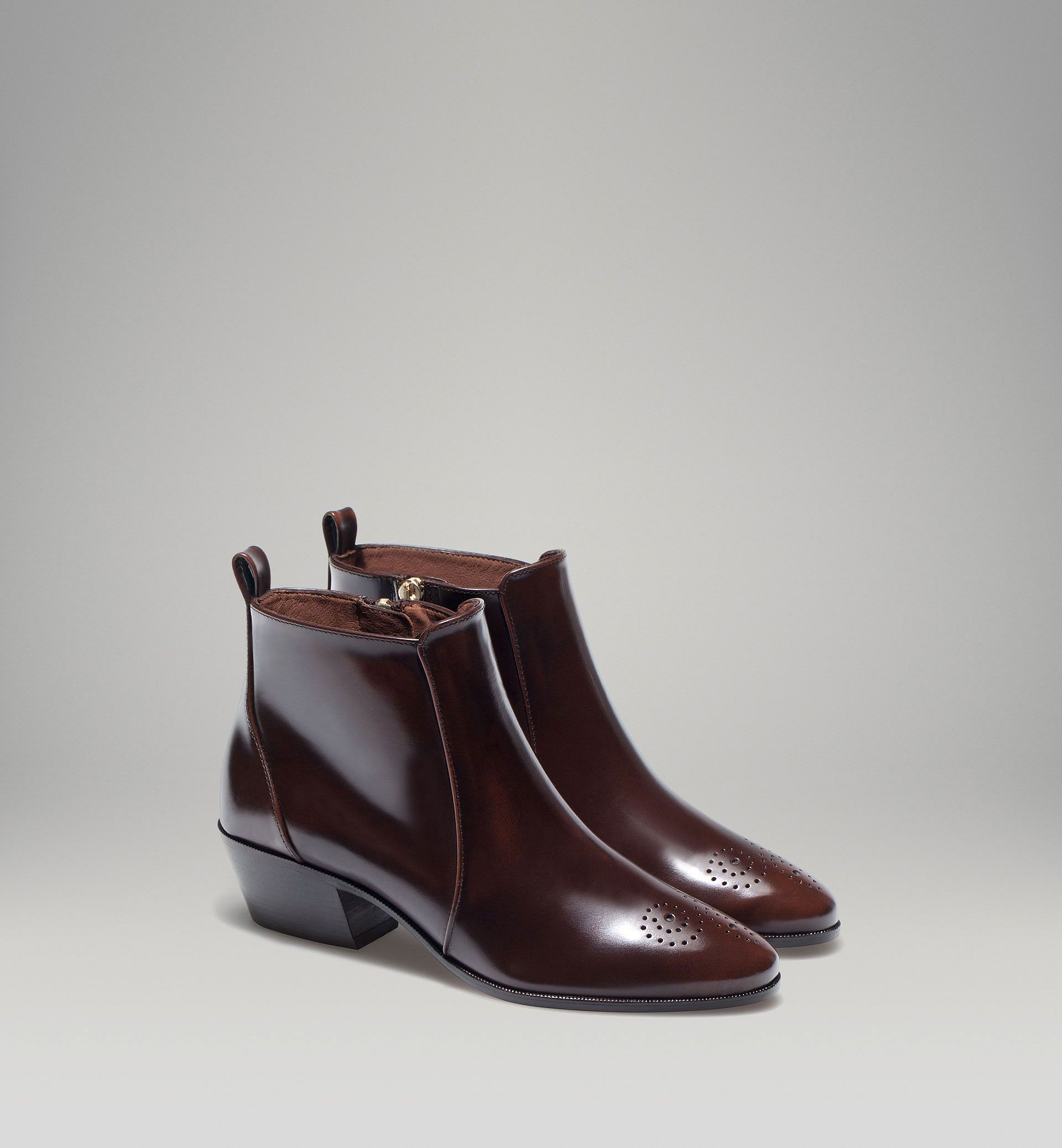 Massimo DUTTI Brogued Antik Ankle Boot Boots, Ankelboots