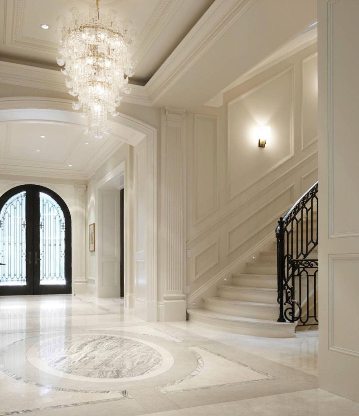 Elegant Mansion Foyers: Elegant Ebony And Ivory Entryway