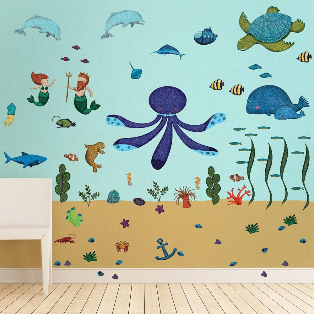 Removable and Repositionable Fabric Wall Decals Seaweed Wall Decals,Ocean Floor Wall Stickers