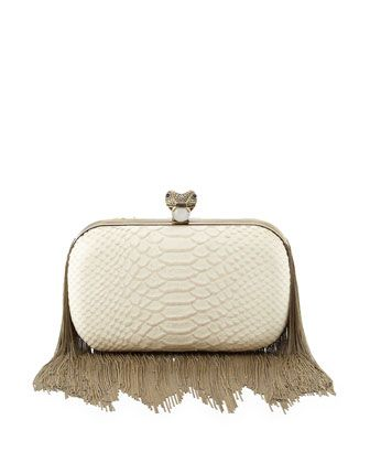 House of Harlow | Jude Chain-Fringe Clutch Bag, White (Stylist Pick!) - CUSP