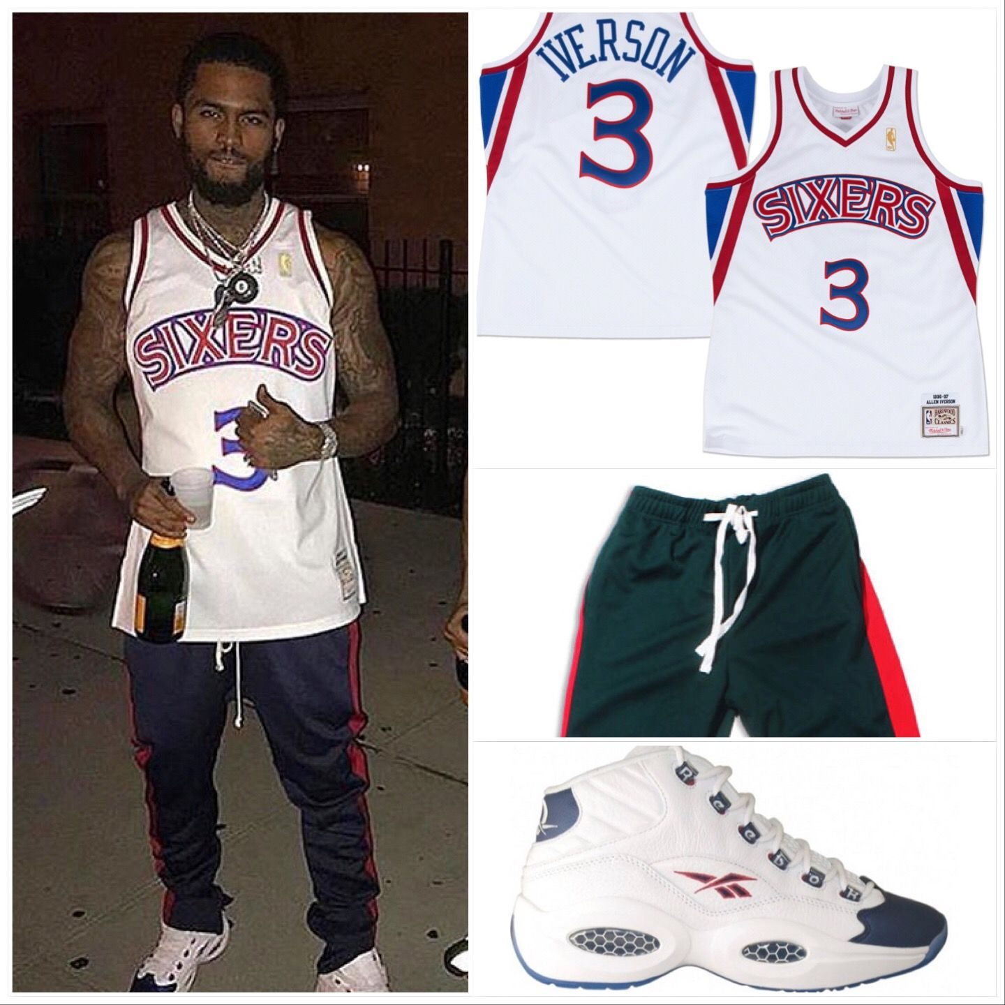 quality design 59db2 cb304 The Rapper In Allen Iverson NBA Jersey Sneakers and Reebok ...