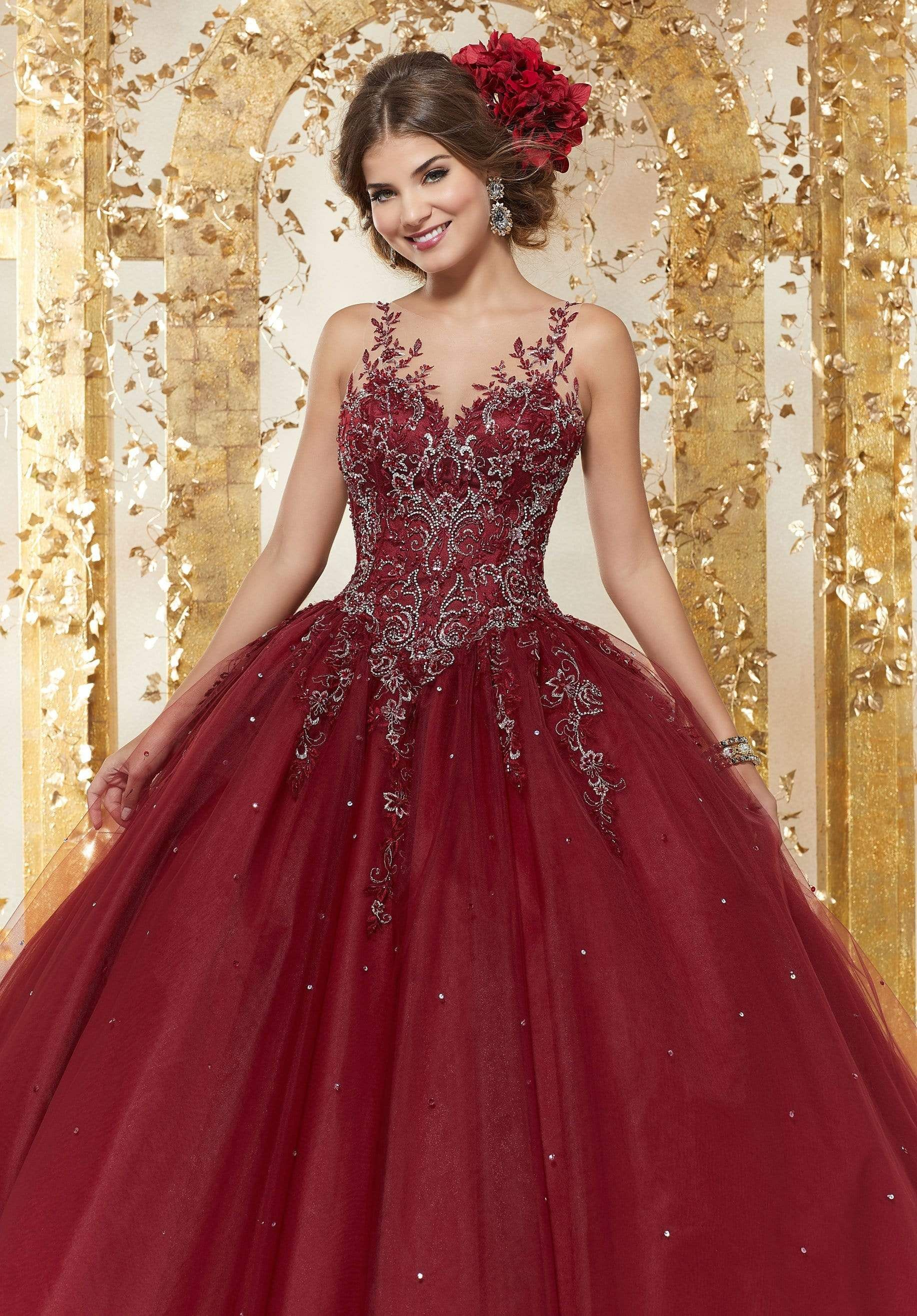 Vizcaya By Mori Lee 89223 Crystal Beaded Embroidered Ballgown Ball Gowns Burgundy Quinceanera Dresses Quinceanera Dresses [ 2630 x 1834 Pixel ]