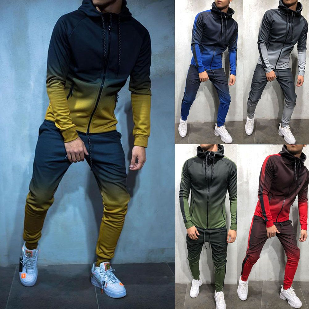 Mens Tracksuit Sports Hooded Sweat Suit Athletic Clothes Coat+Pants Fashion