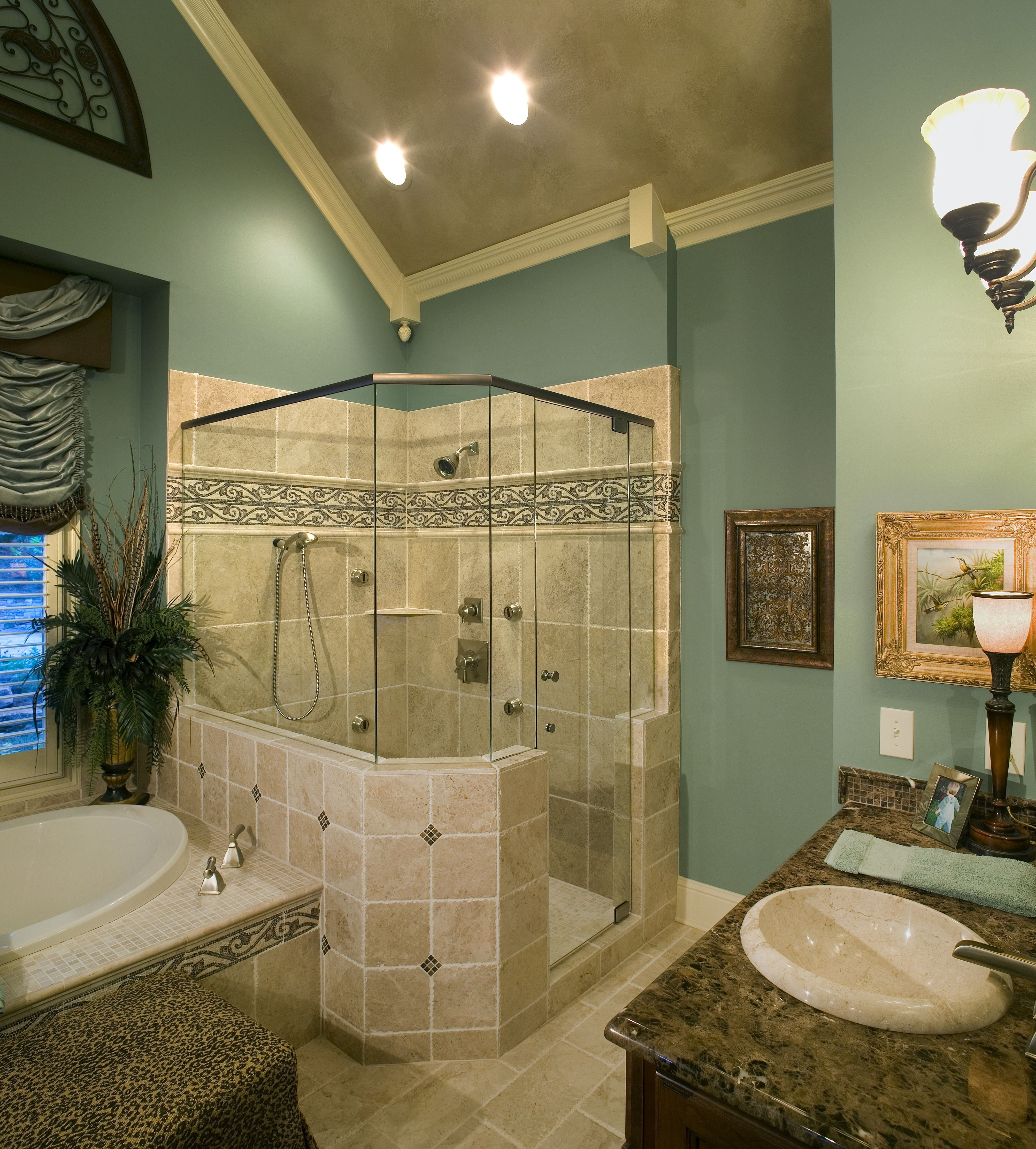 Remodeled Bathroom With Vaulted Ceilings A Handheld Shower Head - Contemporary bathrooms vaulted ceiling