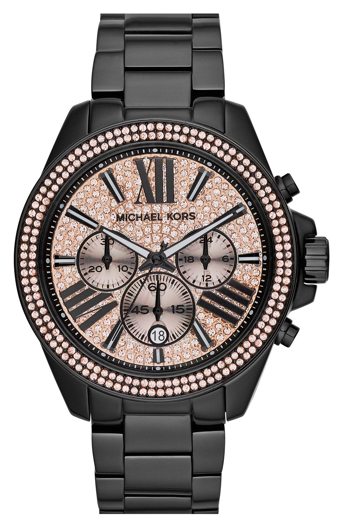 putting this black and pink crystal pav bracelet watch on. Black Bedroom Furniture Sets. Home Design Ideas