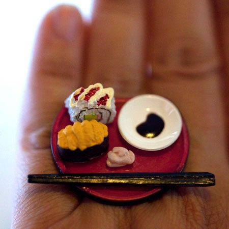 Kawaii Miniature Food Ring  Sushi California by fingerfooddelight, $13.50