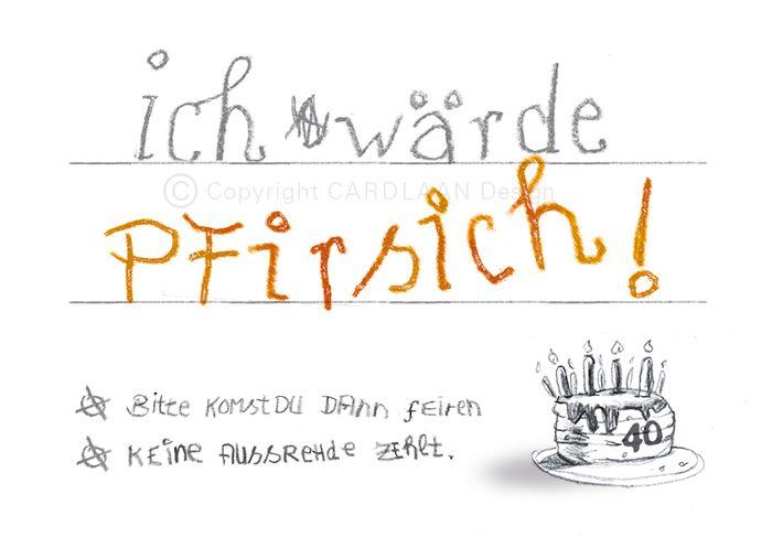 Einladung 40 Geburtstag Pfirsich