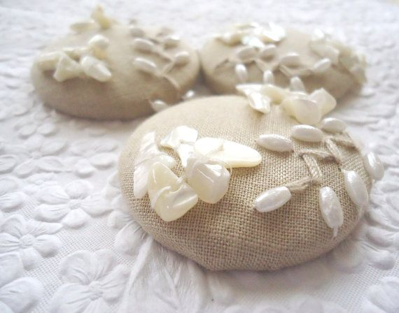 Shell embellished buttons 3 fabric covered ♡ by EmbellishedLife2