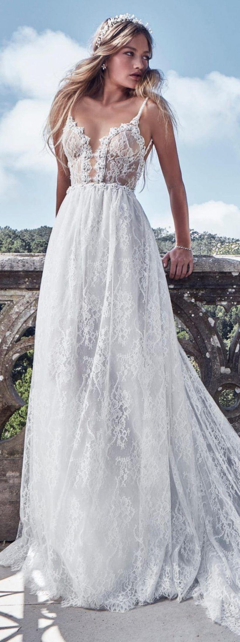 bohemian style wedding dress as an outdoor wedding idea dress