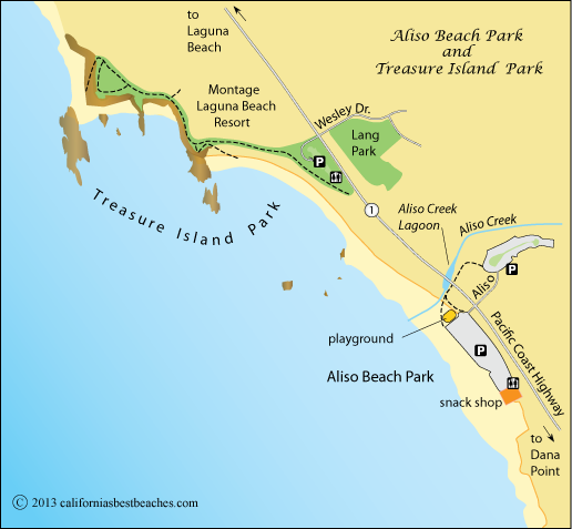 Treasure Island Laguna Beach: Map Of Aliso Beach Park, Orange County, CA
