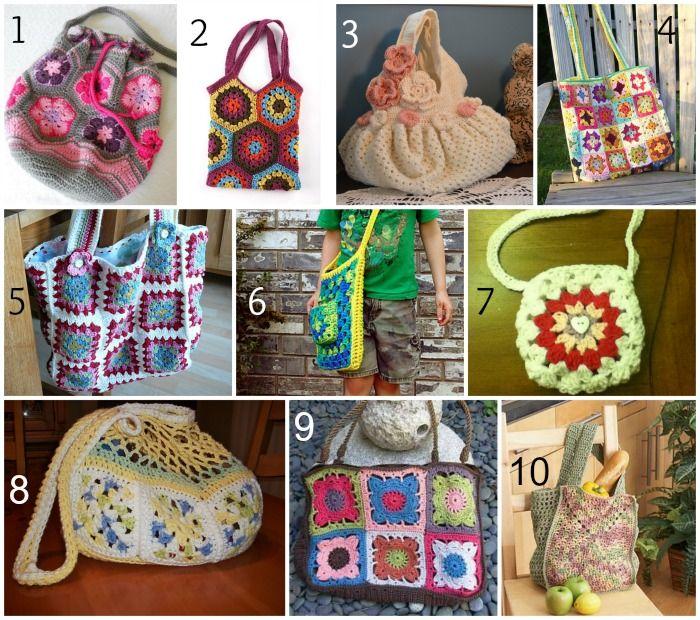 10 FREE Crochet Patterns to make Granny Square Bags | häkel taschen ...