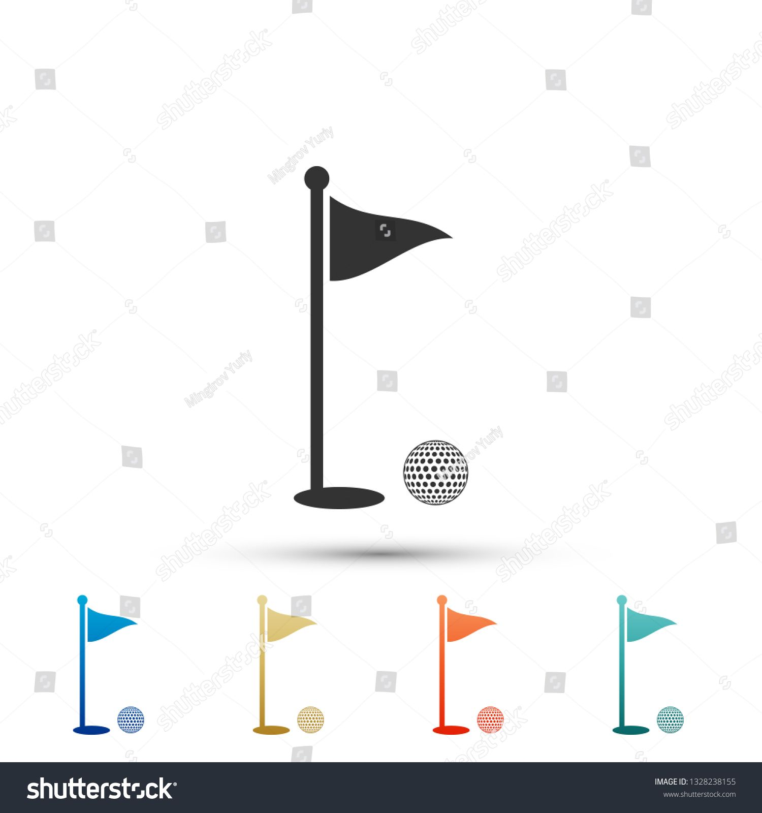 Golf Ball And Hole With Flag Icon Isolated On White Background Golf Course Ball And Flagstick In Hole Sport Concept Set Elem Flag Icon Flag Decal Golf Flag