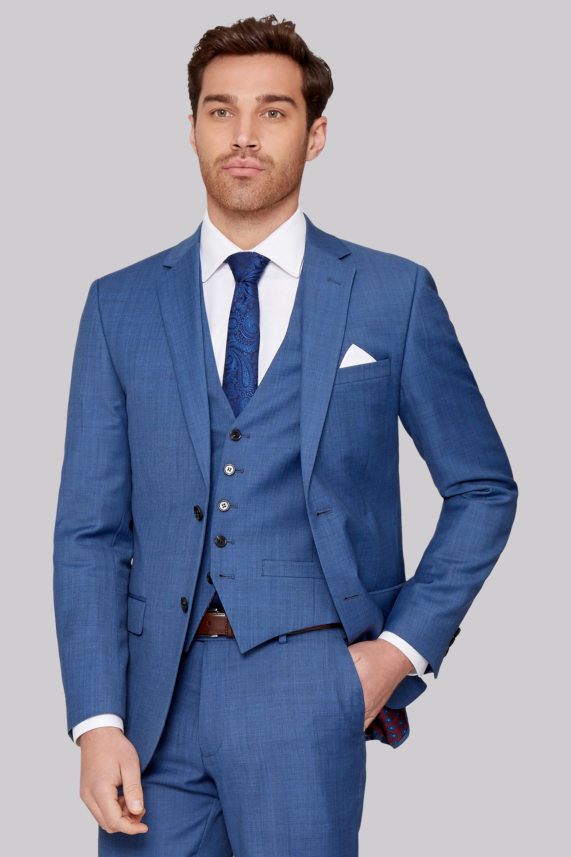 c34c90c8e6651 Give your suiting collection a continental twist with this French blue  sharkskin suit Vibrant and beautifully tailored