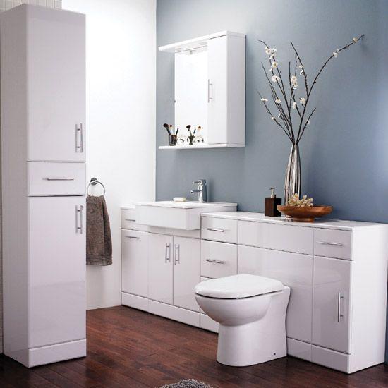 Images On Alaska High Gloss White Piece Vanity Unit Bathroom Suite