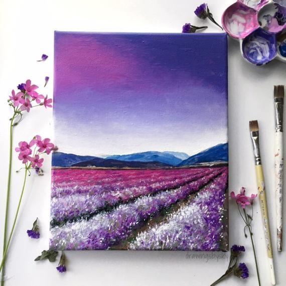 Campo pintura acrílica lámina 8 x 10, campo de flor púrpura, púrpura puesta de sol cielo