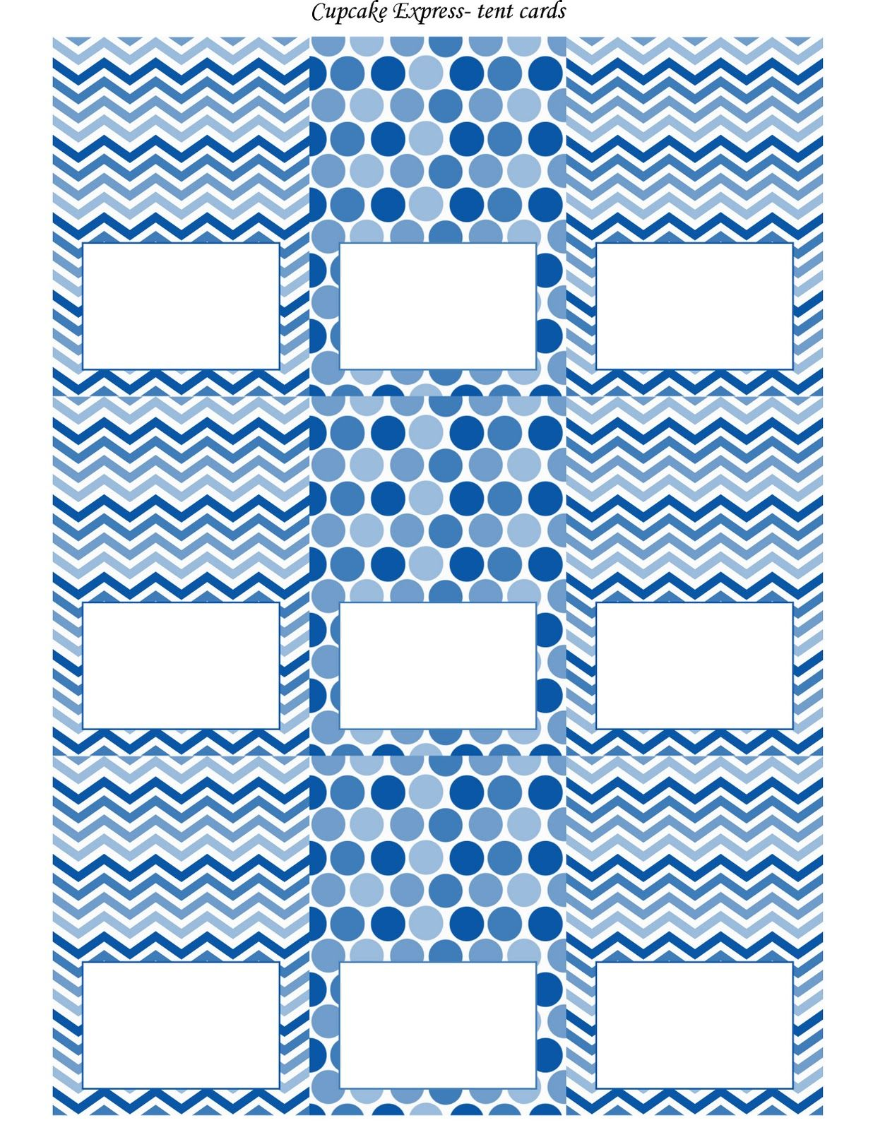 Free blue and white printable tent cards free printables pinterest tents free and free for Free tent card template