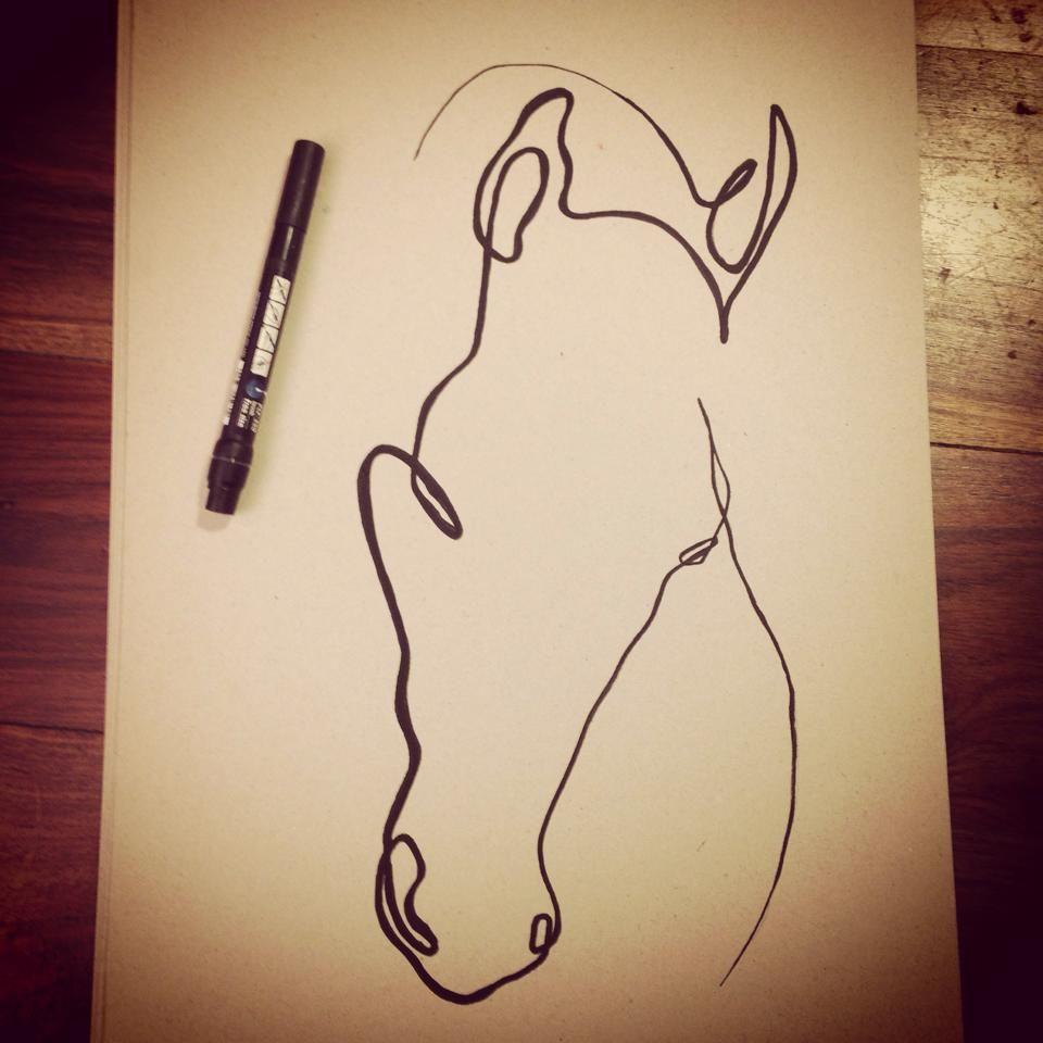 Horse Line Drawing Tattoo : Oneline horse one line drawing continuous