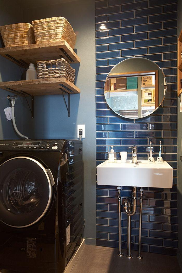 洗面 タイル 青 洗濯機 の画像検索結果 ヴィンテージタイル 洗面所 鏡 造作 洗面台