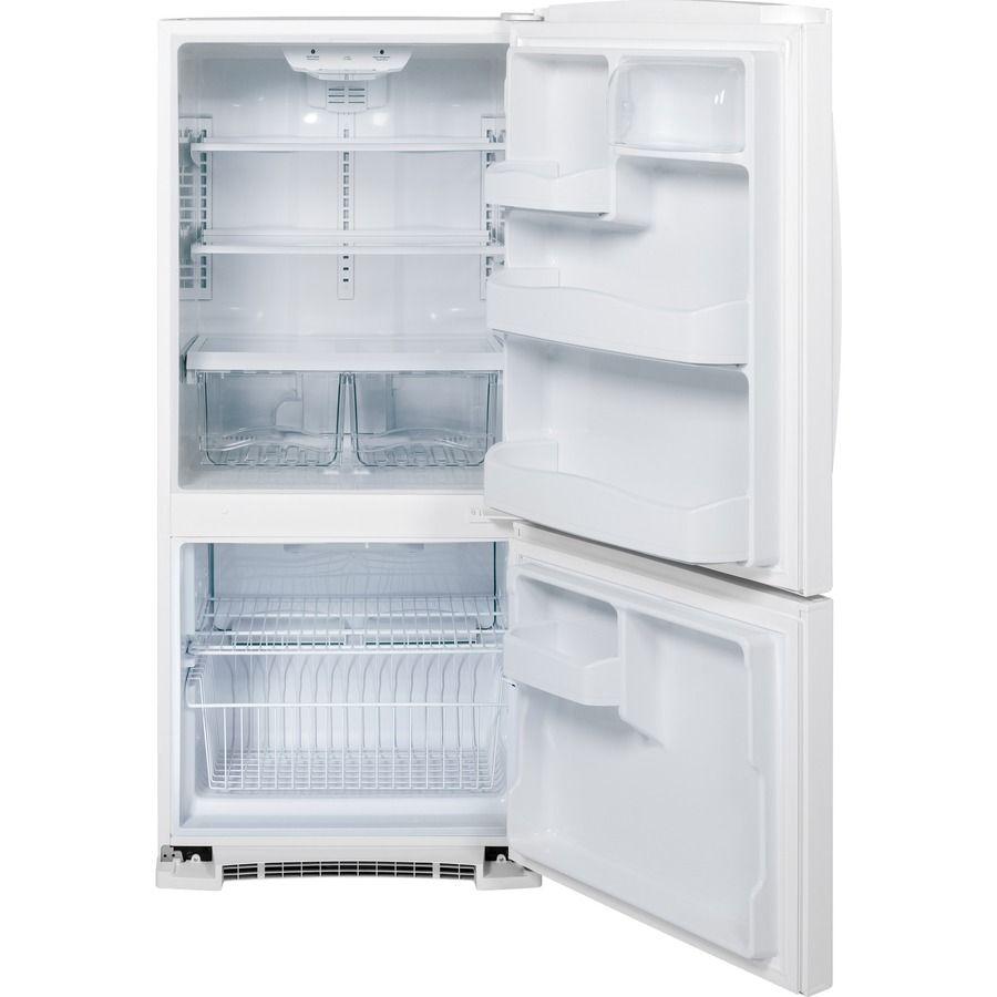 Shop GE 20.3-cu ft Bottom-Freezer Refrigerator (White) at Lowes.com ...