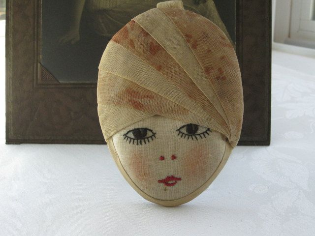 Vintage 1920's Embroidered Flapper Face With Cloche Hat  Wall Hanging