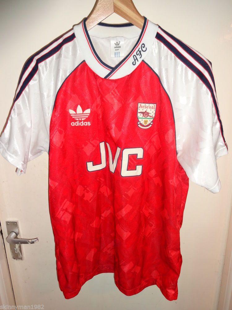 b5e2ecd7c2d original Vintage Authentic Arsenal adidas Medium 1990 - 92 Football Soccer  shirt