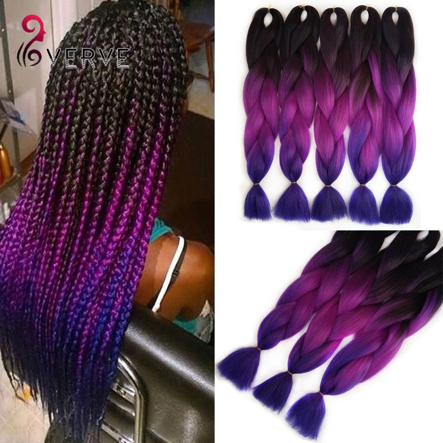 Purple Braiding Hair Ombre Two Tone High Temperature Fiber Expression Gifts Leads
