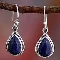 Fair Trade Sterling Silver And Lapis Lazuli Earrings Blue Teardrop