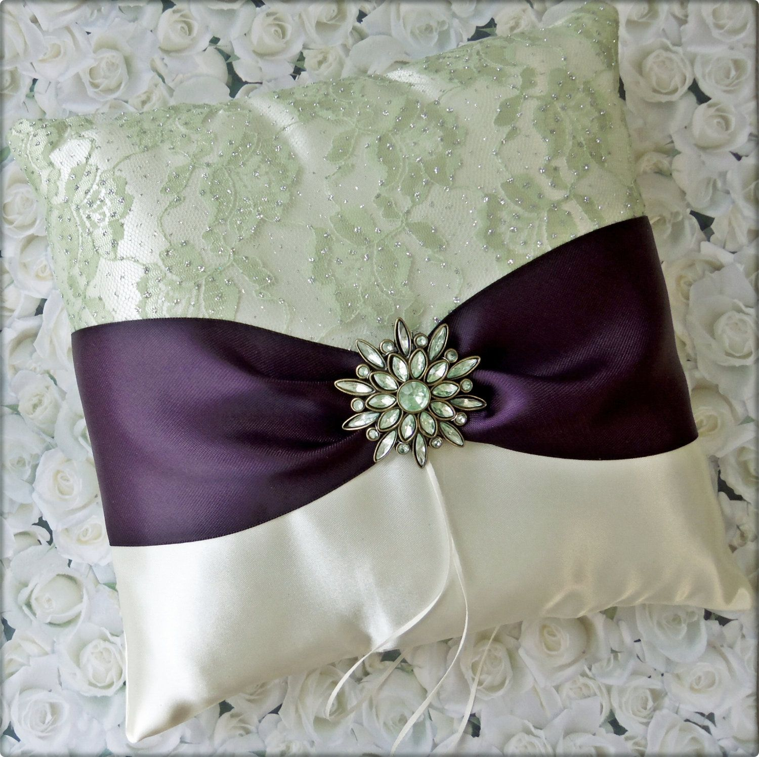 Wedding Ring Pillow Eggplant, Sage Green and Ivory