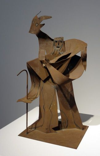 """Homme au mouton,"" by Pablo Picasso, steel cutout with black crayon, 21 1/4 inches high, 1961, unique"