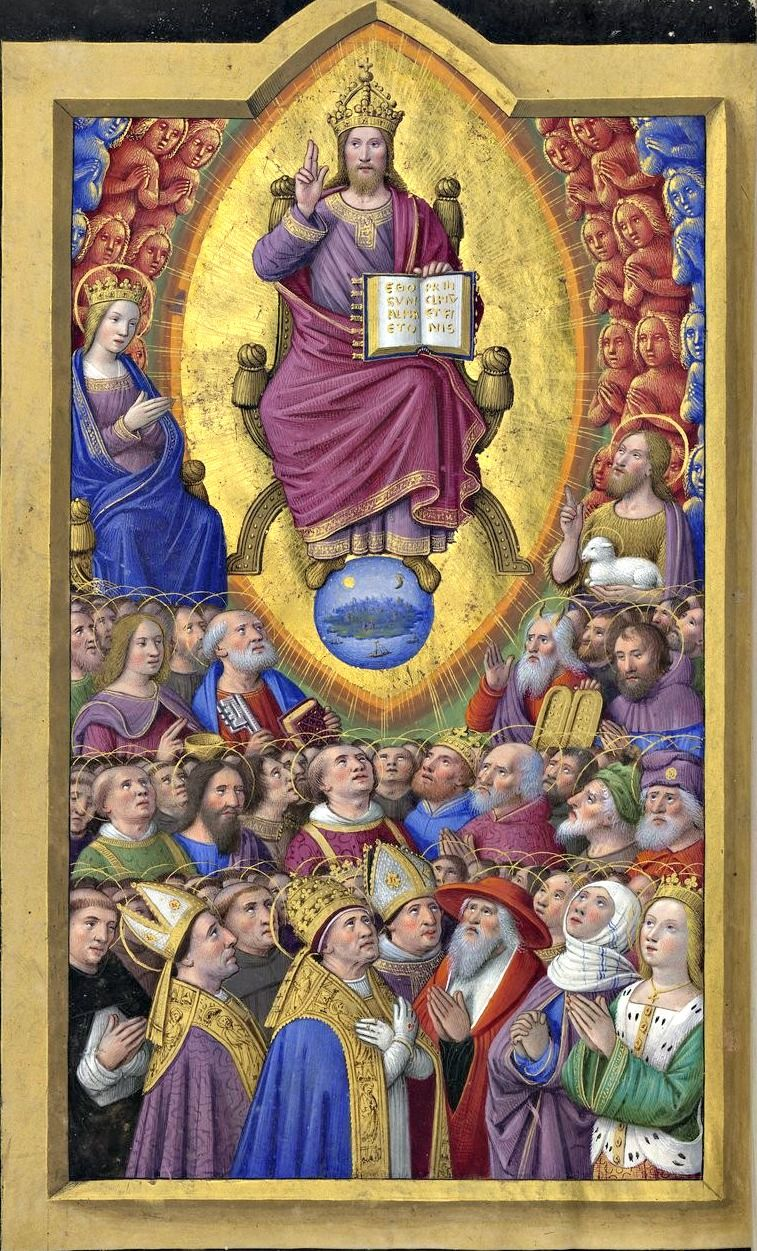 "He has a name written on his cloak and on his thigh, ""King of kings and Lord of lords."" Revelation 19:16 // Jesus Christ the King and the Communion of Saints / Cristo Rey y la Comunión de los Santos // Horae ad usum Romanum, dites Grandes Heures d'Anne de Bretagne (vue 427 - folio 209v) // Date d'édition: 1505-1510 // Latin manuscrit // Bibliothèque nationale de France"
