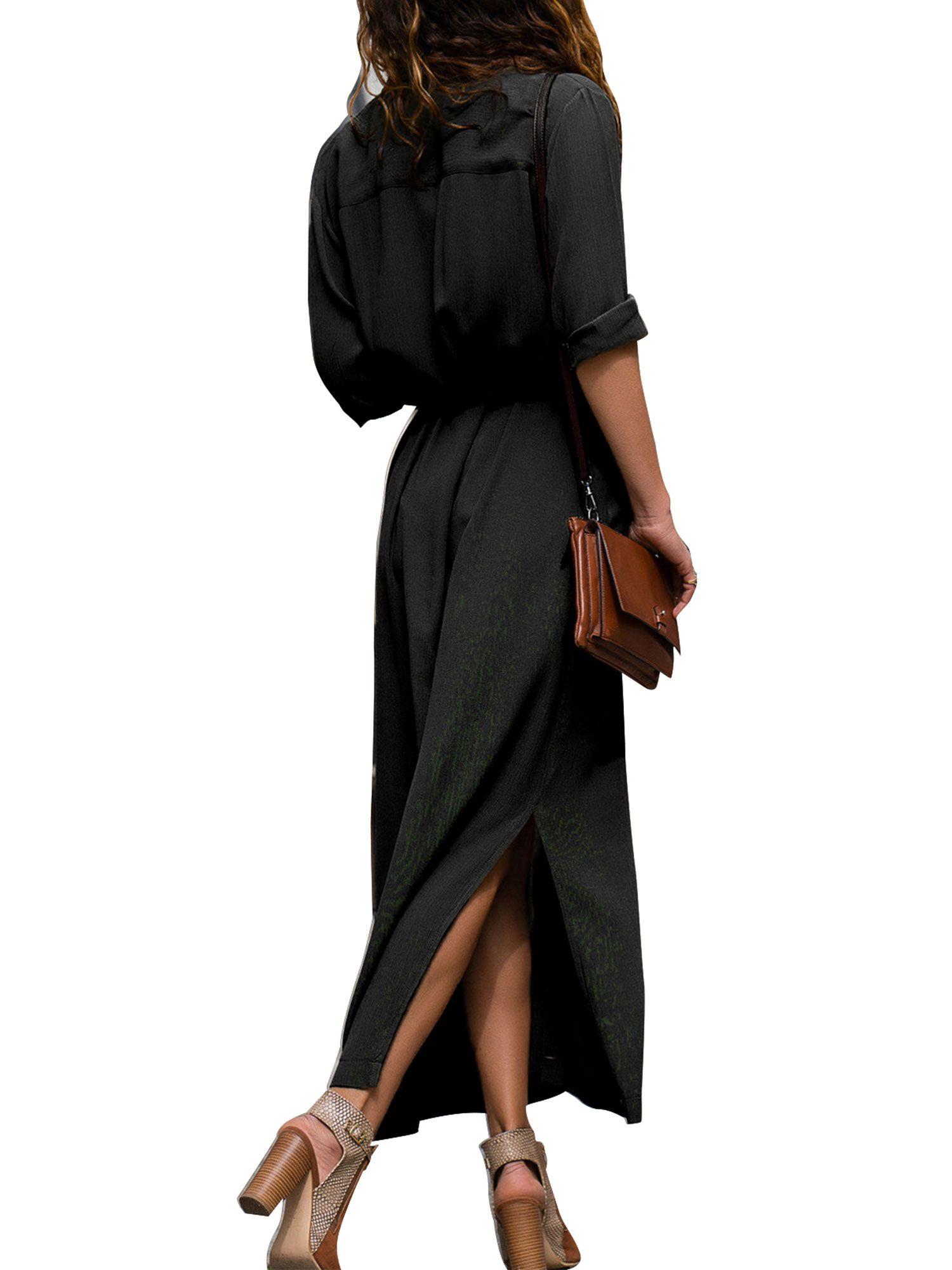 df7d1609b00 Women Long Sleeve Shirt Maxi Dress Ladies Casual Button Through Sun Dress V Neck  Loose Side Split Dresses Maxi