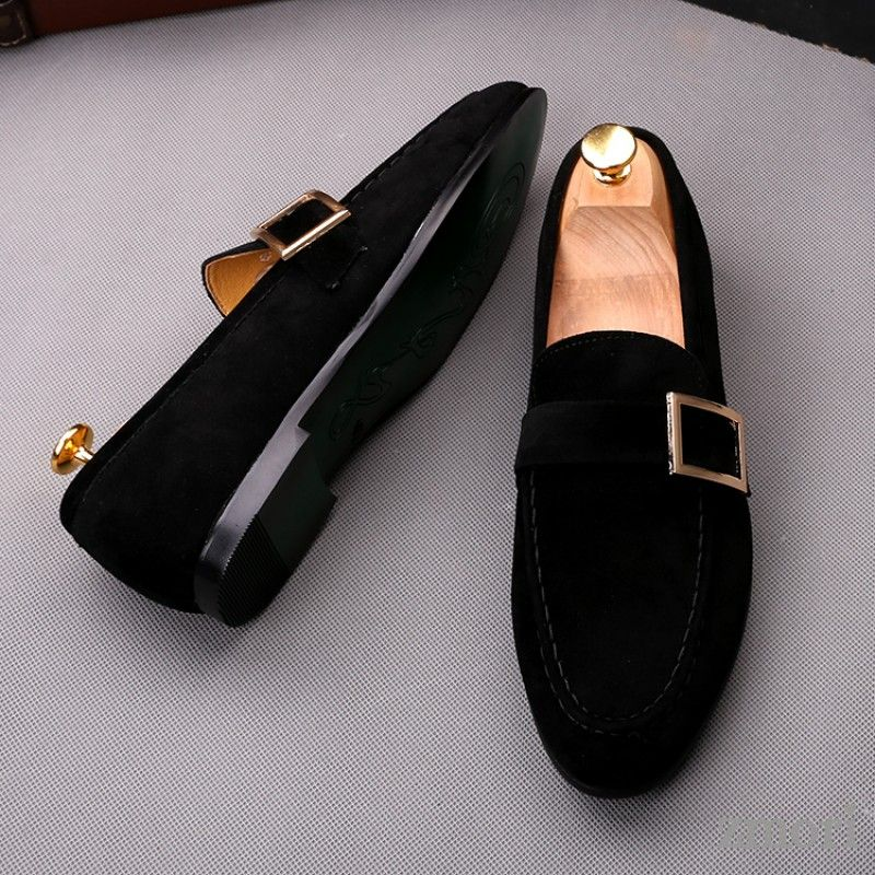 Black Giant Buckle Suede Mens Dappermen Dapper Men Loafers Flats Shoes Dress Shoes Men Loafers Men Gents Shoes