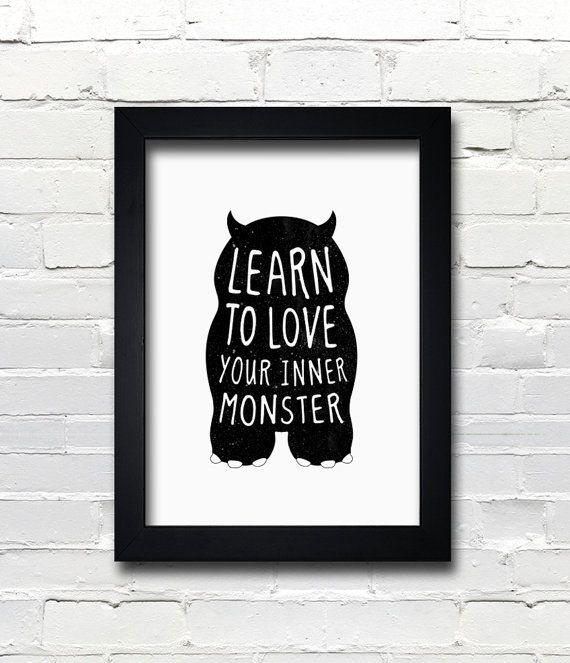 Kids Bedroom Gifts a3 cute monster print, birthday gift, kids bedroom - learn to love