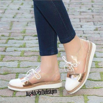 Maslak Rugan Beyaz Bronz Beyaz Tabanli Seffaf Spor Ayakkabi Moda Ayakkabilar Bayan Ayakkabi Ayakkabilar