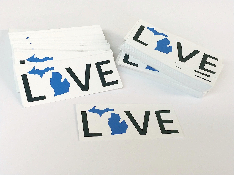 Love Michigan Bumper Sticker Or Laptop Decal Screen Printed Etsy Bumper Stickers Michigan Decal Michigan Sticker