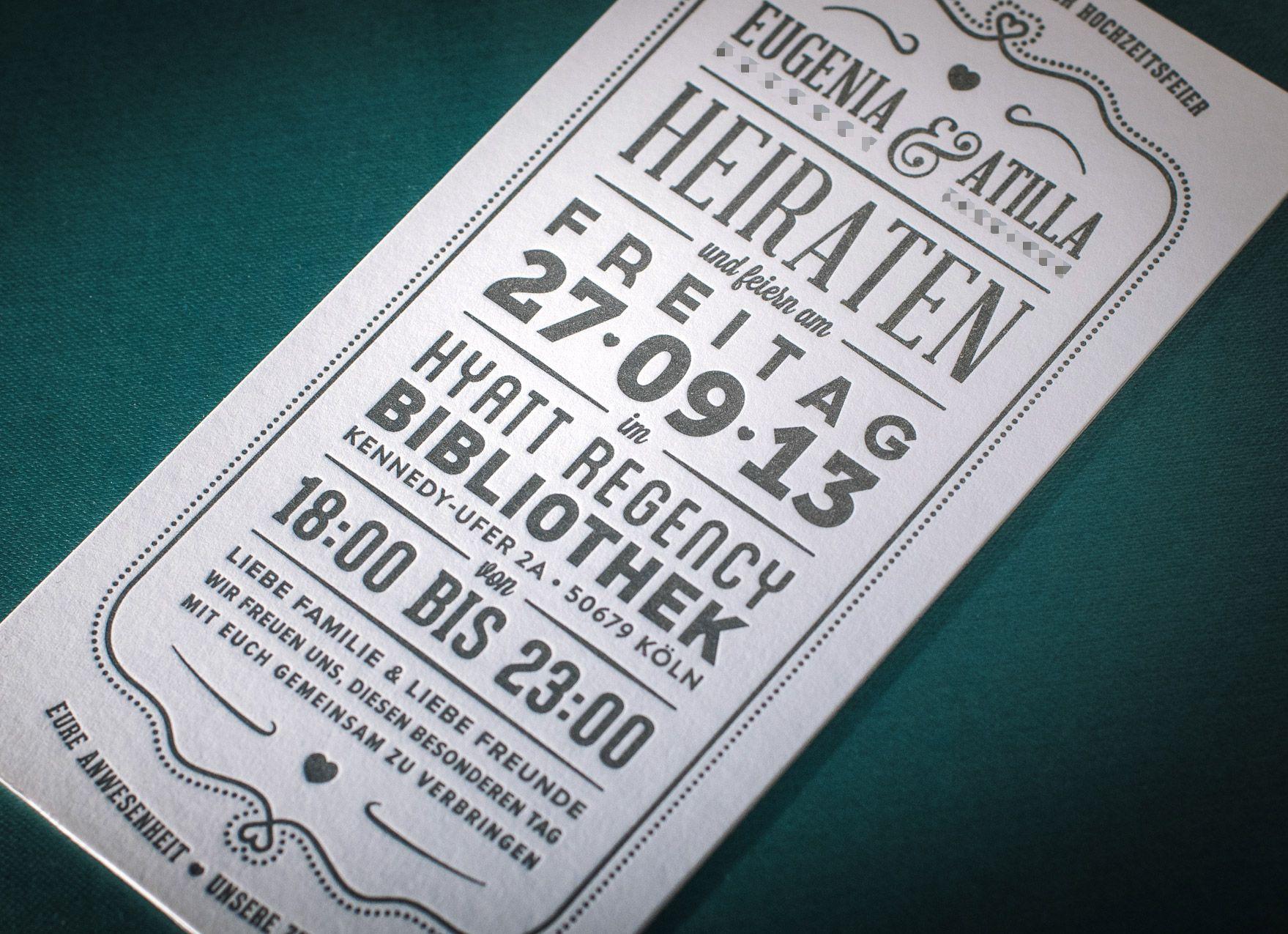 Letterpress Hochzeitskarte / Hochzeitseinladung Mit Tiefprägung