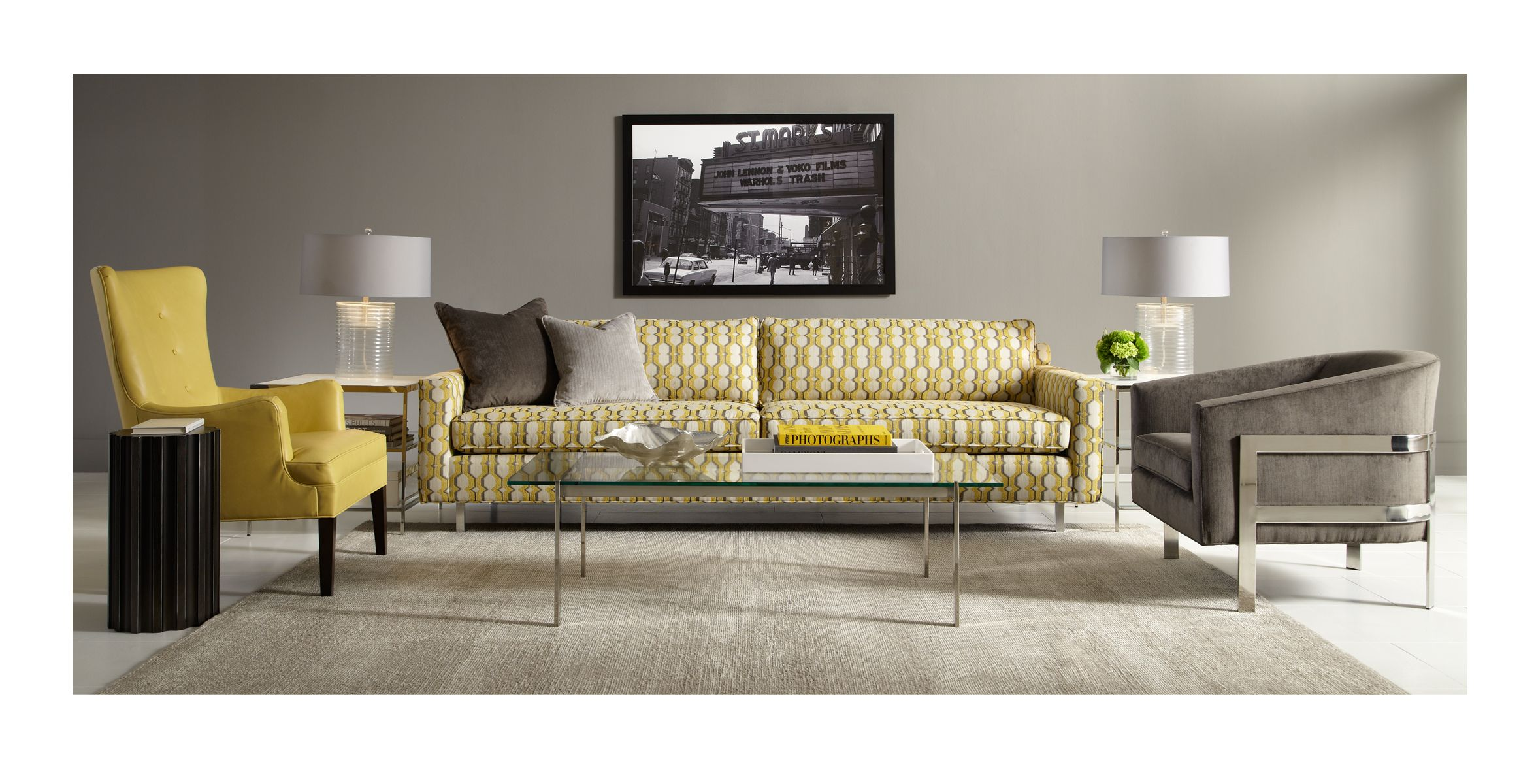 Hunter Sofa In A New Marigold Gray Print Paired With The New