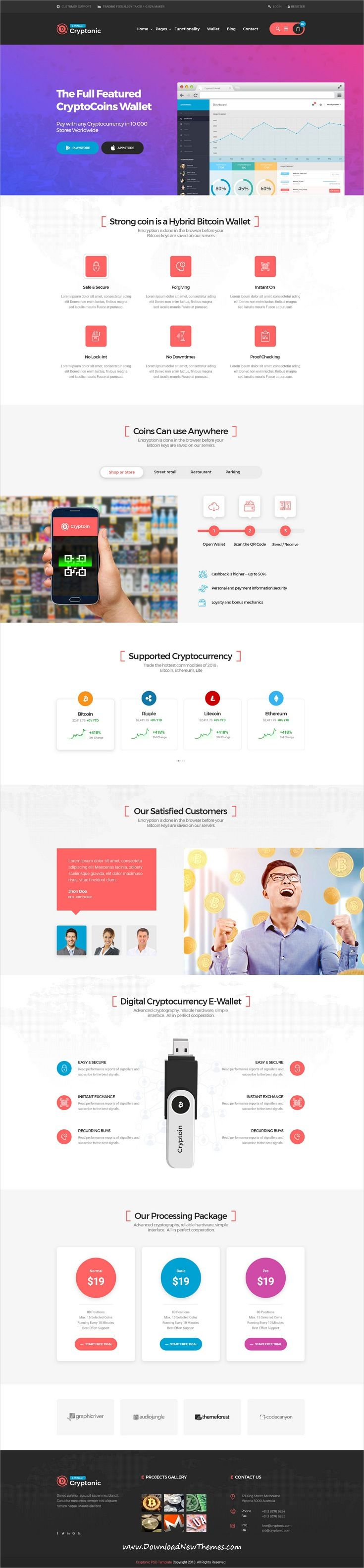 Cryptonic Cryptocurrency Psd Template With Images Psd