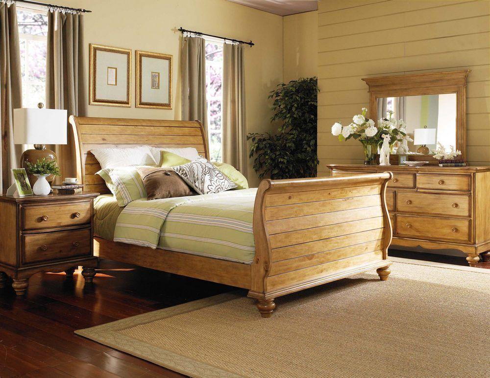 Hillsdale   Hamptons Sleigh Bed Bedroom Set In Weathered Pine
