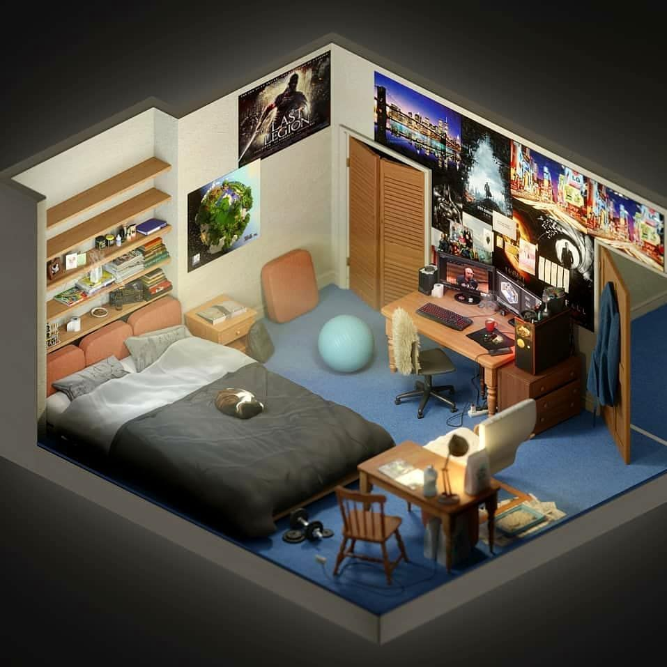 Daily Setup Tech By Shengran On Instagram This Is The Most Detailed 3d Room I Ve Seen Bedroom Setup Dream Rooms Game Room Design