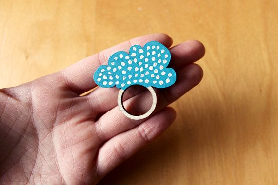 Wooden Ring Cloud Polka Dots by whimsymilieu on Etsy, $20.00