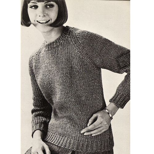 Misses Beginners Pullover Sweater Knitting Pattern, S M L This is ...