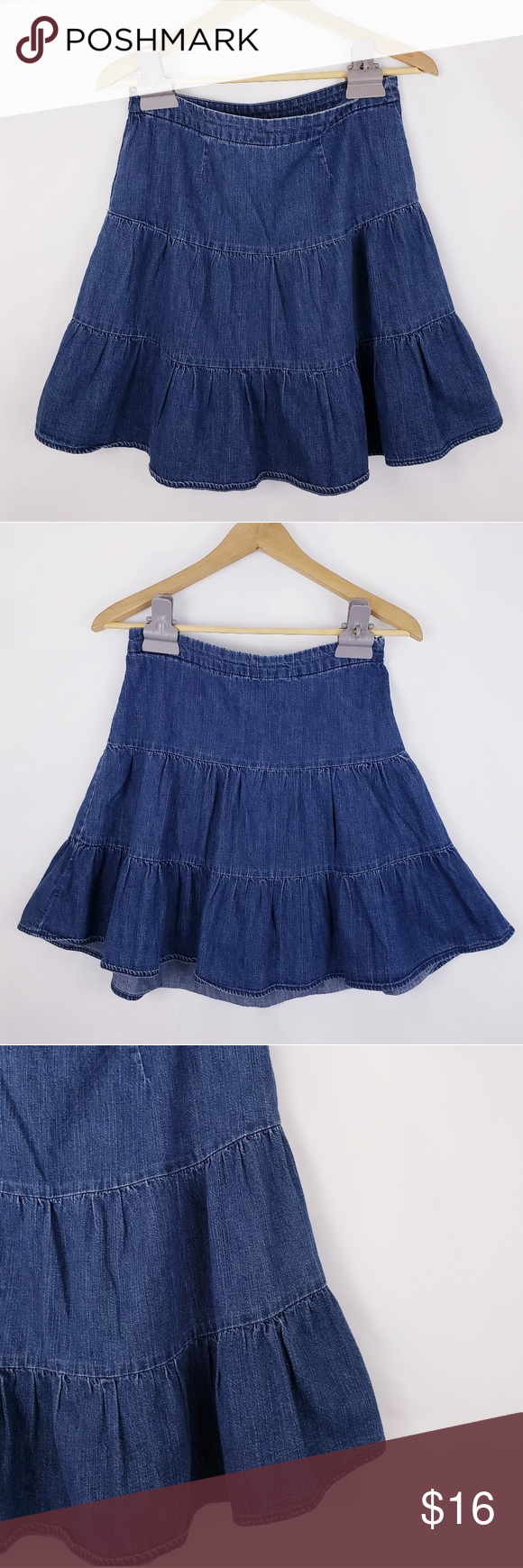 efc78e4f2 I just added this listing on Poshmark: Gap Tiered A-line Denim Skirt Size  1/Small. #shopmycloset #poshmark #fashion #shopping #style #forsale #GAP  #Dresses ...