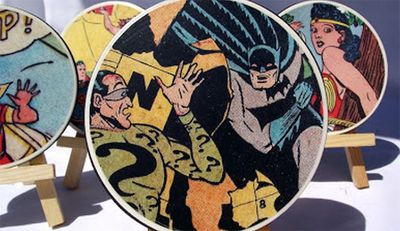 DIY -- How to make your own super cool comic coasters. Great dad gift.