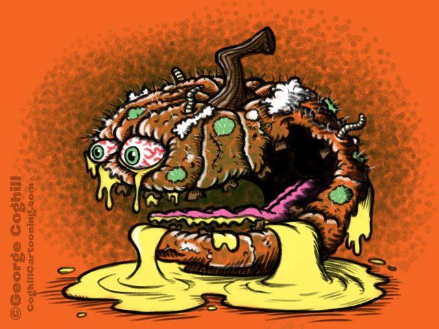 Putrid Pumpkin Food Fruit Lowbrow Cartoon Character Sketch