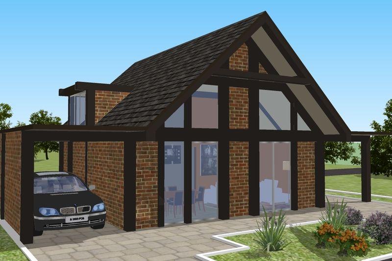 Plan de maison Style moderne - 2 lits 1 Bains 543 pi   ca plan # 542 - Facade Maison Style Moderne