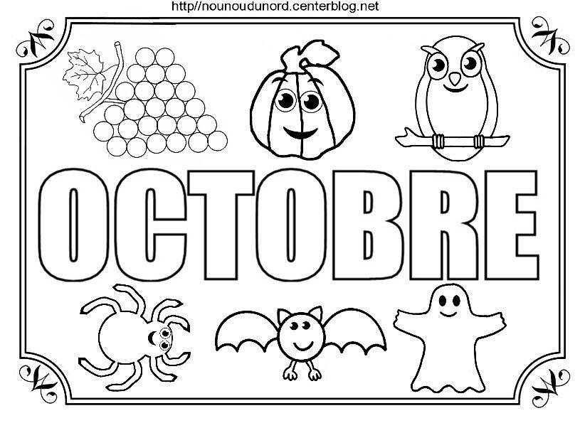 Mois d 39 octobre colorier gommettes mois saisons jours imprimer pinterest coloriage - Coloriage saisons a imprimer ...